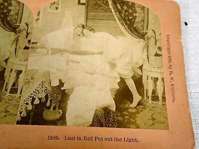 Stereoview Card 1899 Kilburn #12880 Last in Bed Put out the Light Bed Curtains