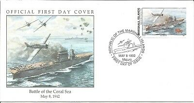 Arcade 50p A Nice Marshall Is 1992 Battle of the Coral Sea 1942 FDC