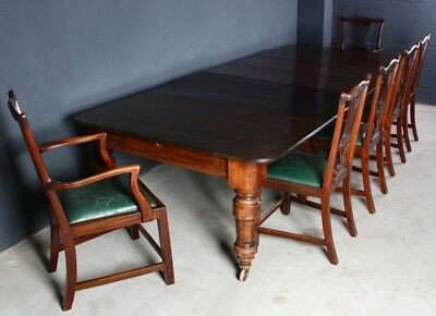 20 Century Jhd. Antike Essgruppe Tisch + Stühle Holz Dining Table Regency London