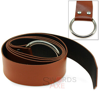 Medieval Costume Belt Antiqued Steel Ring Tie Adjustable Faux Leather Brown