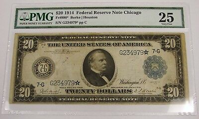 1914 - $20 Federal Reserve Chicago Star Note - Fr. 990* - PMG VF 25
