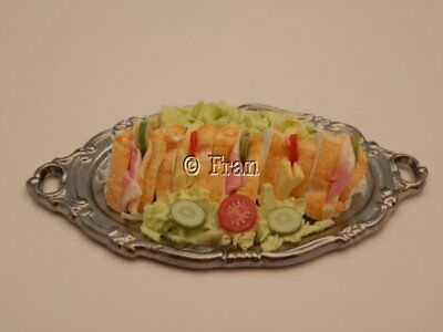 Dolls house food: Silver platter of sandwiches  -By Fran