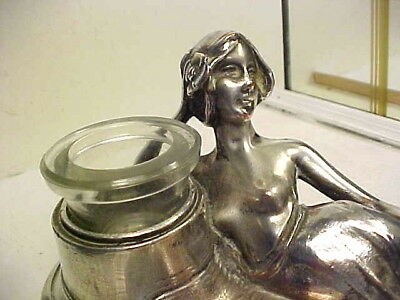 Rare Art Nouveau Semi Nude Lady Silver Plated Inkwell from Germany C1890