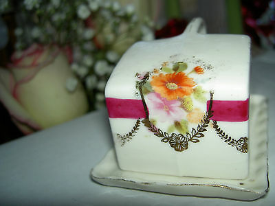 Antique, miniature German china decorated covered cheese dish for child or doll