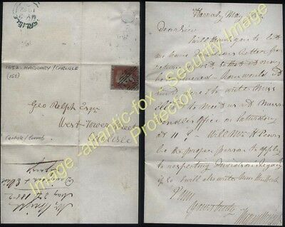 1852 1d red Imperf on Letter HARRABY,  Carlisle to George Relph, West Tower St