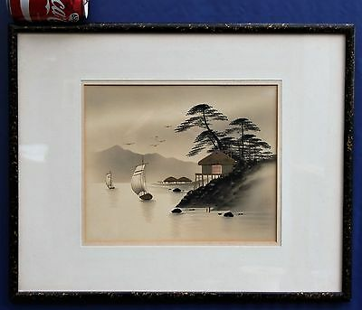Antique Japanese Painting Landscape Lake & Mountains Meiji Period 1860's