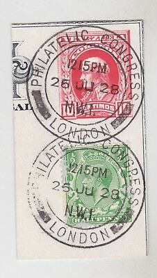 Gb Stamps 1928 Philatelic Congress London Postmark On Piece From Collection