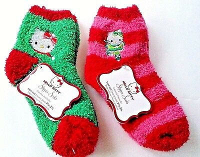 Hello Kitty girls 2 pair slipper socks shoe size 7 1/2-3 1/2 nwt