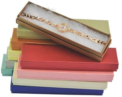 "LOT OF 10 MIXED COLOR COTTON FILLED BOX JEWELRY GIFT BOXES BRACELET BOX 8""x2""x1"