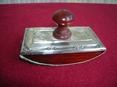 Antique Sterling Silver And Wood Ink Blotter