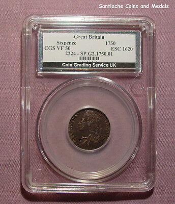 1750 KING GEORGE II SILVER SIXPENCE - Graded Good VF By CGS