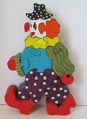 "Bright Colorful 8"" Handmade Wooden Clown Puzzle"