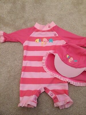 Baby Girl Swimsuit & Hat 0-3 Months