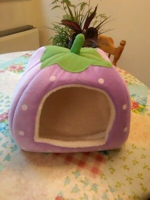 Cat or small dog igloo cave purple strawberry shape velour pet bed