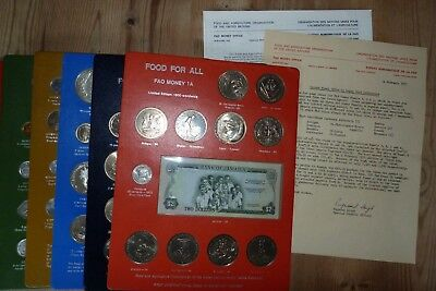 FAO Money Panel 1A Food For All 1970-74 World coins/Banknote x12 United Nations