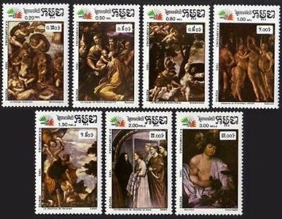 Cambodia 627-633,MNH.Michel 704-710. ITALY-1985.Paintings.Giotto,Caravaggio,