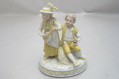 Antique Augustus Rex  Dresden Porcelain Couple Mandolin