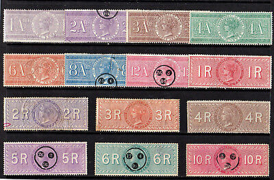 India - 1881 - Qv - Revenue / Tax - Set Of 14 Stamps - Good Used - High Cat. £