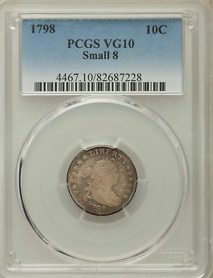 1798 US Silver 10C Draped Bust Dime - Small 8 - PCGS VG10