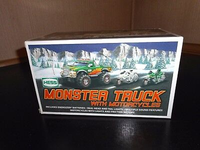 Hess Truck 2007 Monster Truck And Motorcycles Never Removed W/box Issue