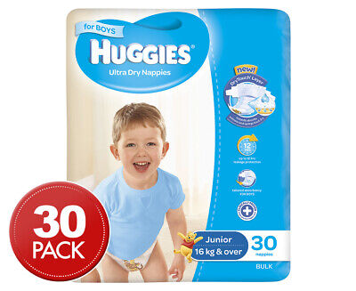 Huggies Ultra Dry Junior Nappies Boys 16kg+ 30pk