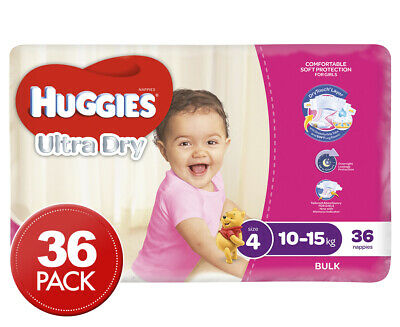 Huggies Ultra Dry Toddler Nappies Girls 10-15kg 36pk