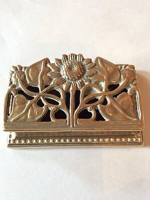 Vintage Brass Double Stamp Box With Sunflower Lid