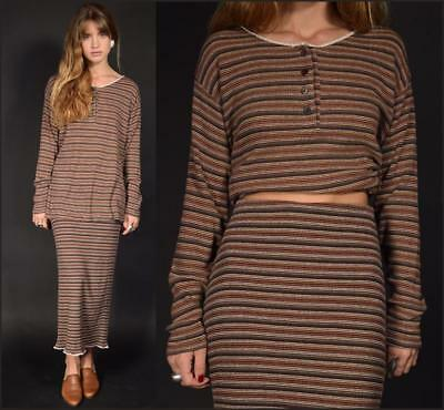 Vtg 90s cotton thermal ribbed EARTH TONE stripes TWO PIECE pencil skirt + tunic