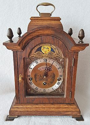 Warmink Clock Westminster Dutch 8 Day Oak Mantel Shelf Moon Phase Night Switch