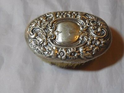 Small Oval Antique Sterling Silver Repousse Brush