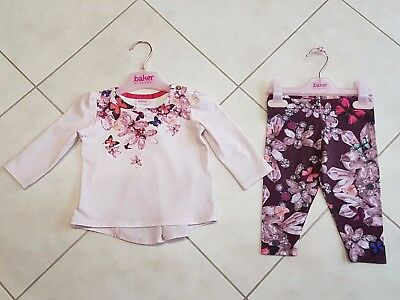 Ted Baker Baby Girl pink top & plum leggings outfit set (6-9 months)