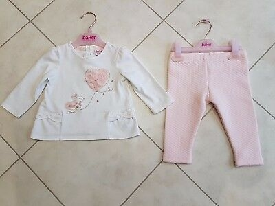 Ted Baker Baby Girl white top & pink leggings outfit set (6-9 months)