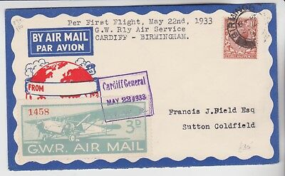 Gb Stamps 1933 First Flight Railway Service Cardiff General From Collection