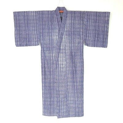 Japanese Vintage Kimono for Men Cotton Yukata Indigo White Check L101