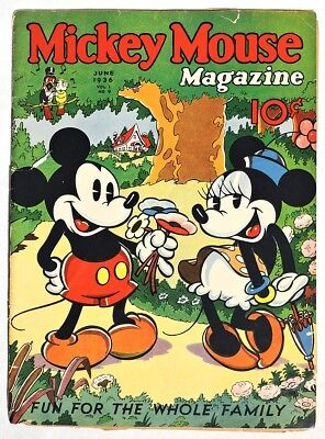 S532. MICKEY MOUSE MAGAZINE Vol. 1, No. 9 June Issue (1936) SEIBERLING AD [
