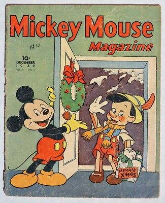 S523 W. D. Ent. MICKEY MOUSE MAGAZINE Vol. 5, No. 3 Dec. CHRISTMAS Issue (1939)[