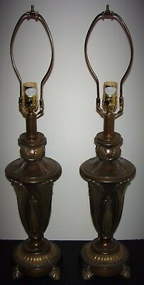 Pair of 2 Urn Art Nouveau Style Metal Aluminum Table Lamps Brass Bronze Finish