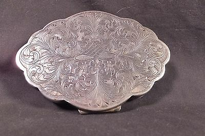 ANTIQUE Vintage Italian 800 Silver Ornate Shell Minaudière Compact