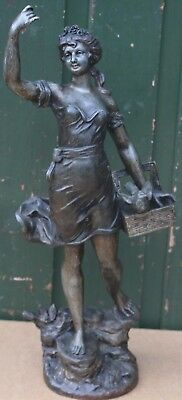 Old Large Very Detailed Signed Metal Lady Figure With A Bird To Clean Up