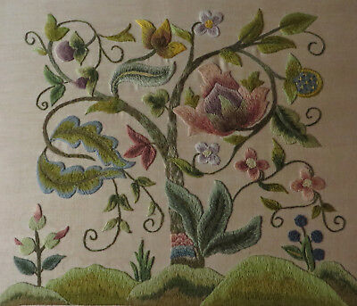 "Vintage/Antique Crewel Work Panel ""Tree of Life"" Hand Embroidered Jacobean Style"