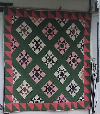 ANTIQUE QUILT red green browns cat fabric too! feed sack lancaster county pa