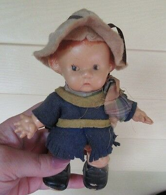 "Vintage Celluloid Plastic Walking Little 7"" scout doll"