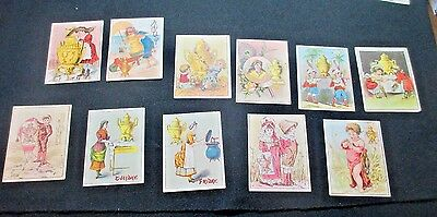"""ELEVEN c1880 Antique Dilworth's Coffee Trade CardS ALL HAVE COFFE POT KITE 2X3"""""""