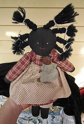 """AFRICAN AMERICAN/black  12"""" CLOTH DOLL with braids and baby"""