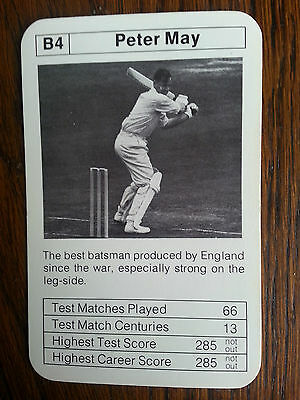 Peter May Sussex England Master Batsman Rare Trading Card 1970's