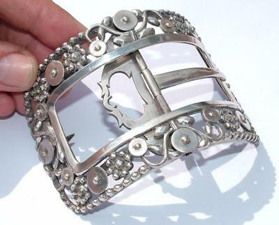 "HUGE 4"" x 2.75"" DUTCH STERLING SILVER BUCKLE DATED 1810 AREND MARTIJN - LOT 77"