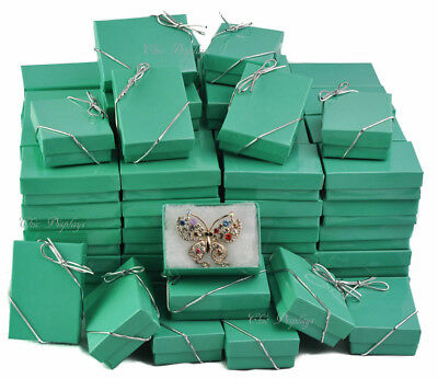 LOT OF 100 TEAL COTTON FILLED BOX JEWELRY GIFT BOXES BRACELET BOX 3 1/4x 2 1/4