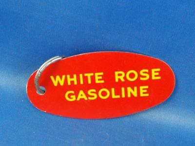 White Rose Oil Ultra Gasoline Pump Tag Sign Keychain Key Ring Advertising