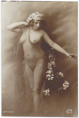 1920 French NUDE Photograph, Frontal Fernande Veiled in Transparent Silk, Agelou