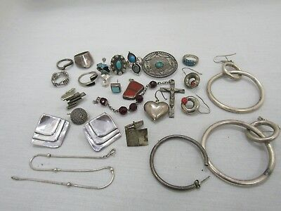 Lot of 22 Sterling Silver SCRAP Rings Earrings Pendant Bracelet Cufflinks Grams